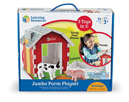 Learning Resources Jumbo Farm Animals and Barn Toy Play Set, 14 Pieces