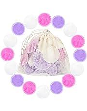 Cotton Rounds Reusable 16 Packs - Reusable Bamboo Makeup Remover Pads for face - Reusable Facial Pads Reusable Facial Cotton Rounds with Laundry Bag