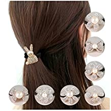 Lovef 8 Pcs Pearl Ponytail Holder Crystal Bow Flower Women Hair Ties Rope Elastic Hair Bands Rhinestone Girls Hair Accessories