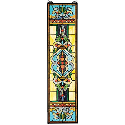 (Design Toscano Blackstone Hall Stained Glass Window Hanging Panel, 35 Inch, Stained Glass, Full Color)