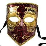 Pointed Mouth Venetian Mask with Red and Gold Aged Finish