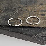 9 x 1mm Silver Hoop Earrings, Handmade Jewelry, Silver Tiny Hoops, Handmade Hug Bar Hoops, Silver Stick, Everyday Earring