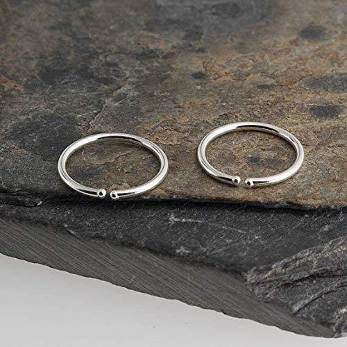9 x 1mm Silver Hoop Earrings, Handmade Jewelry, Silver Tiny Hoops, Handmade Hug Bar Hoops, Silver Stick, Everyday ()