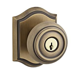Baldwin EN.TRA.TAR Traditional Keyed Entry Single Cylinder Knobset with Traditio, Matte Brass & Black