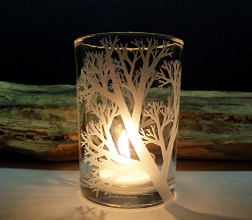 Engraved Candle Holder (Reaching Branches Engraved 4