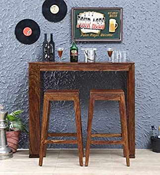 Jiya Creation Bar Set   Bar Table Furniture with 2 Stool (Sheesham Wood) (Teak Shade)