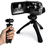iGadgitz PT310 Black Mini Lightweight Table Top Stand Tripod and Grip Stabilizer for Ckeyin Flash DV Digital Video & 16Mp Max 1080P IR Night Vision Motion Detection HD Camcorders