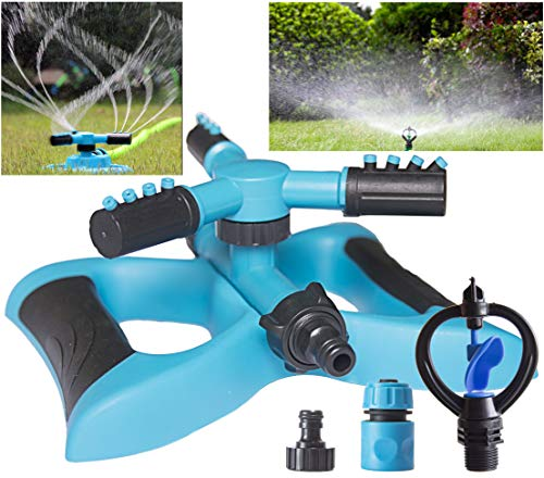 Buud Garden Sprinkler Automatic 360° Rotating Lawn Irrigation System Garden Hose Watering Sprinkler Adjustable 3 Arm Sprayers Watering Sprinkler for Kids