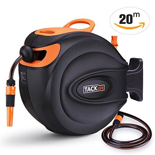 TACKLIFE Schlauchtrommel, 20+2m Schlauchaufroller 180° Schwenkbar, Jeder Punkt Arretierstops Gartenschlauch, Pivot, Automatischer Rückzug Schienenvorrichtung, Wasserhahnanschluss