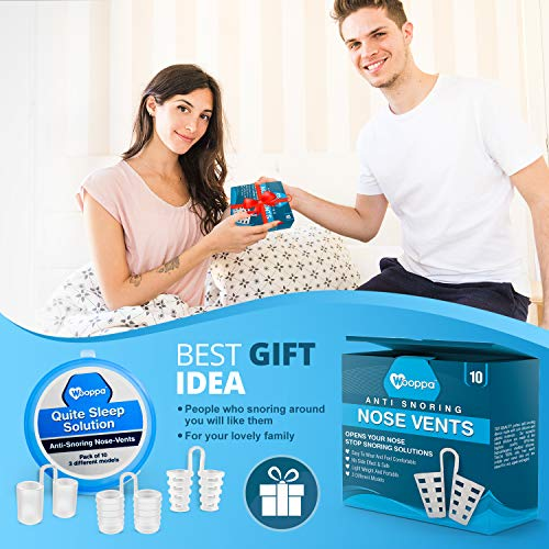 Wooppa Snoring Solution - Anti Snoring Solutions - Anti Snoring Devices - Snore Aids - Nose Vents - Snore Nasal Dilators - 10 Pack - Snore Stopper Set - Reduce Snoring - Stop Snoring