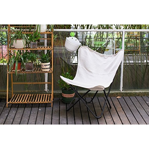 PatioPost Butterfly Outdoor Camping Chair with Black Steel Frame and Replacement Cover Home Office Furniture, Tan