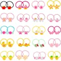 Hicarer 80 Pieces (40 Pairs) Girls Cartoon Elastic Hair Ties Head Hair Tie Bands Ropes Girls Ponytail Holders