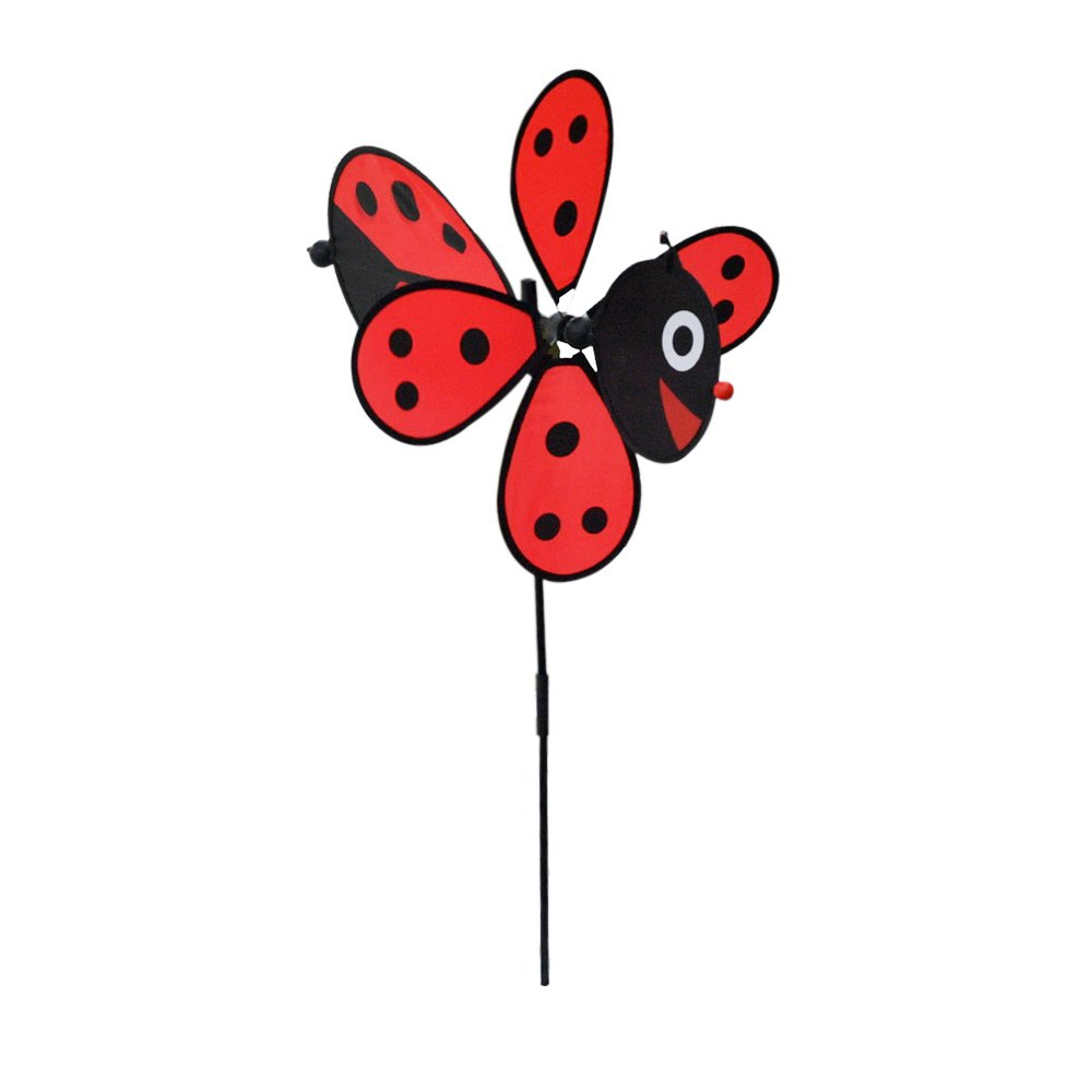 Home-X - Ladybug Garden Wind Spinner, Decoration for the Garden, Flower Bed, Front or Backyard, Fun Loving Ladybug Design Looks Great in All Yards
