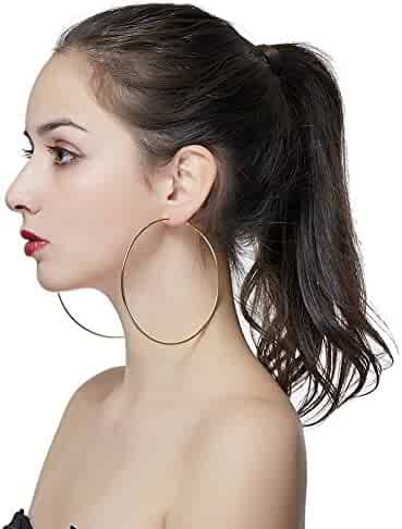 83d0c9855 Hypoallergenic Extra Large Basketball Hula Hoop Earrings for Women Men -  Big Thin Hoop Earrings
