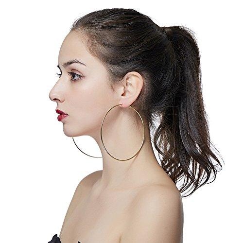 Hypoallergenic Extra Large Basketball Hula Hoop Earrings for Women Men - Big Thin Hoop Earrings (14k Gold Large Hoop Earrings)