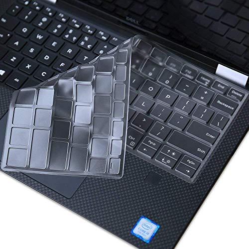 Leze - Ultra Thin Silicone Laptop Keyboard Skin Protector for 13.3-Inch Dell XPS 13 9370 9380,XPS 13 9365 2-in-1 Touch-Screen Laptop - Clear
