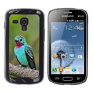 TopCaseStore / la caja del caucho duro de la cubierta de protección de la piel - Bird Tropical Purple Feather - Samsung Galaxy S Duos S7562