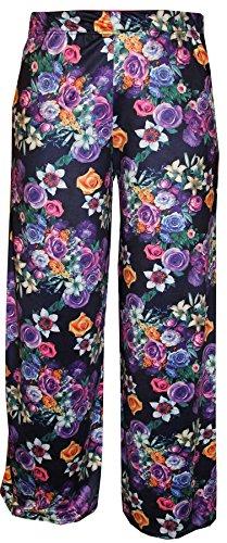 NEW patrones para coser para mujer diseño estampado con flores UK extra anchos para hombre pantalones de patas de madera de PALAZZO pantalones de 8-26 Navy Floral