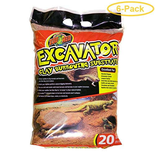 Zoo Med Excavator Clay Burrowing Reptile Substrate 20 lb Bag - Pack of 6