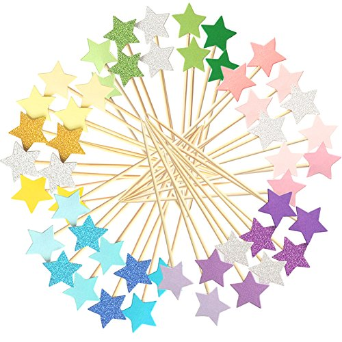 Winrase 50pcs Multicolor Stars Cupcake Toppers Mini Cake Toppers Food Decoration Toppers Party Decorative Accessories for Birthday Wedding Baby Shower
