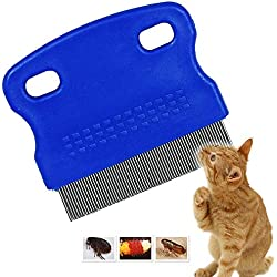Patty Both Dog Cat Pet Lice &Flea & Nit Removal Comb/Brush, Precision Spaced Stainless Steel Teeth Locked into Sturdy Plastic Handle for Easy Cleaning(Blue)