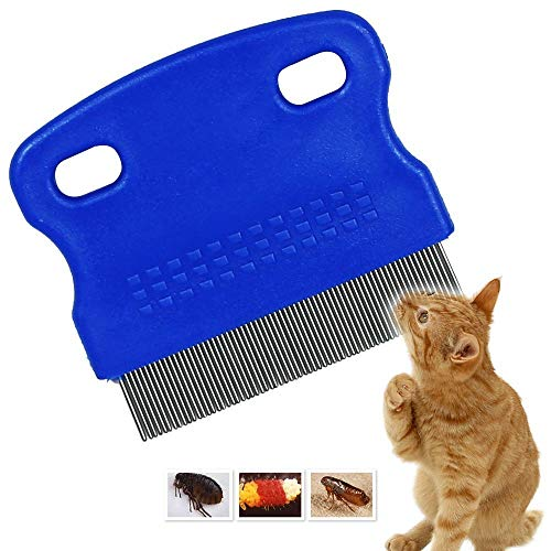 Patty Both Dog Cat Pet Lice &Flea & Nit Removal Comb/Brush, Precision Spaced Stainless Steel Teeth Locked into Sturdy Plastic Handle for Easy Cleaning(Blue) (Comb Mm Fine)