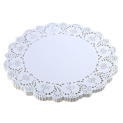 DECORA 12.5 Inch Round White Paper Lace Doilies for Wedding Table Decorations 100pcs ()