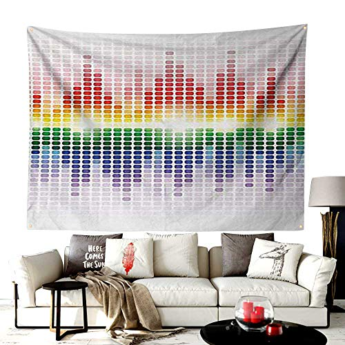 (UNOSEKS-Home Custom Mode Chicago Tapestry Wall Hanging,Rainbow Digital Style Equalizer Amplifier Recording Equipment Night Club Disco Theme,Bedroom Living Room Dorm Decor,84W X 54L Inches)
