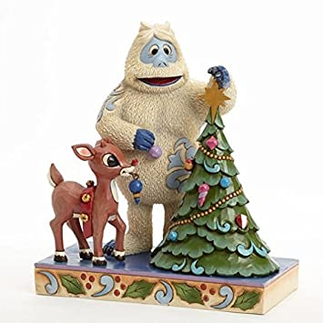 Jim Shore for Enesco Rudolph Traditions by Bumble and Rudolph with Tree Figurine, 7-Inch