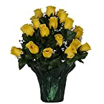 Sympathy-Silks-Memorial-Artificial-Flowers-Weighted-Pot-Bouquet-Decoration-Height-18-20-Artificial-Greenery-Fade-Resistant-Yellow-Rose-Potted-Silk