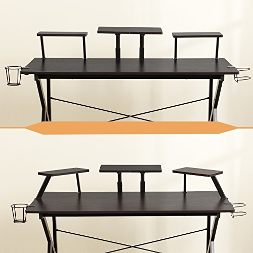 """DlandHome Gaming Desk, 47"""" with Display & Stand Headphone Holder, YX001-BB 1 Pack"""