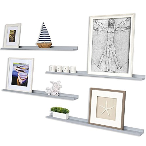 Wallniture Floating Wall Shelf Nursery Bookshelf Picture Ledge 46 Inch Gray Set of 4