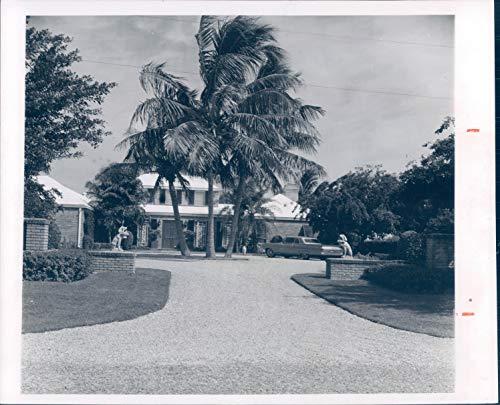Vintage Photos 1963 Press Photo Historic Tracy Home Port Royal Statue Palm Trees Beauty 8x10