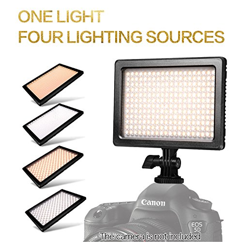 NanGuang DLSR LED Light 4-in-1 Dimmable Bi-Color On Camera LED Light Panel for Canon Nikon DSLR Camera DC Camcorder for Photo Shooting and Video by NanGuang