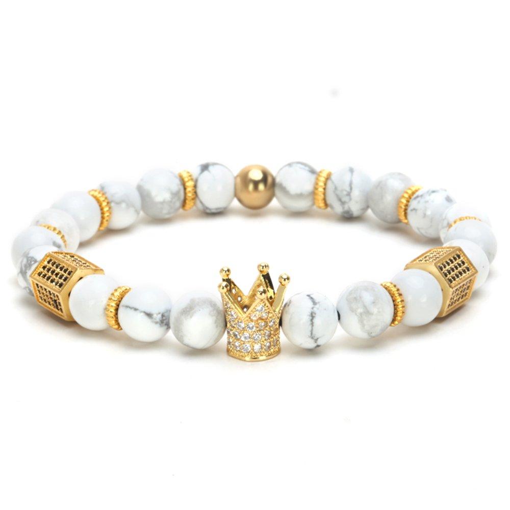 SEVENSTONE 8mm Crown King Charm Bracelet for Men Women Black Matte Onyx Stone Beads, 7.5''