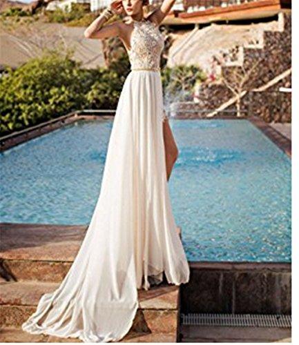 SHUNLIU Damen Abendkleider Lang Perlstickerei Spitze Chiffon Neckholder Crystal Brautkleider Lang Ballkleider Lang