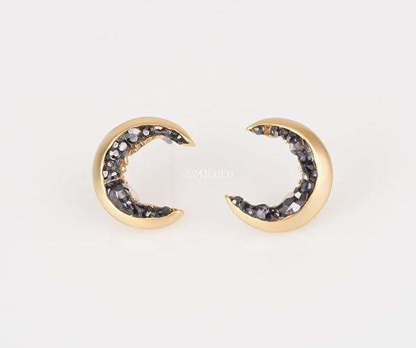 crescent moon stud earrings handmade