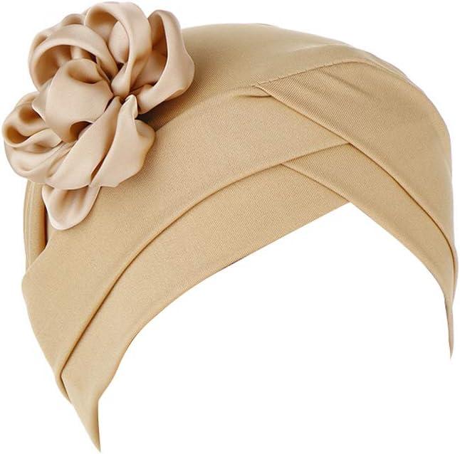 Khaki iKulilky Damen Headwear Unisex Turban M/ütze,Blume Baumwolle Schlafm/ütze,Chemo Kappe Beanie Schal Kopfbedeckung f/ür Haarverlust,Krebs