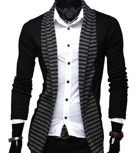 Size L Mens Long Sleeve Slim Fit Stripe Turn Down Collar Casual Leisure Top Suit Coat Shirt Black (Leisure Suits For Sale)