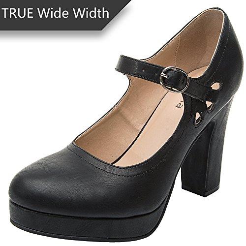 Luoika Women's Wide Width Heel Pump - Ankle Buckle Strap Heel Close Toe Stilleto Platform Mary-Jean Shoes.(Black PU, 180334,Size 9.5)
