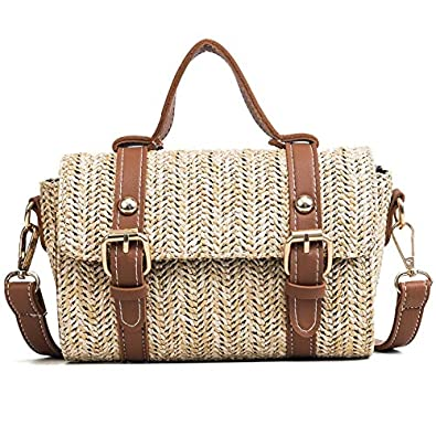 Amazon.com: Summer Beach Bag Women Straw Bag Knitting ...