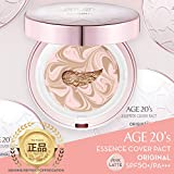 Age 20's Compact Foundation Makeup, Essence Cover Pact SPF50+ Sunscreen (Wrinkle-Smoothing & Brightening) with 68% Hyaluronic Serum (Made in Korea) - Color No. 21 - Pink/Nude Beige Latte