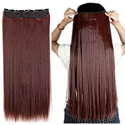 """S-noilite 17""""/23"""" Curly Straight 3/4 Full Head One Piece 5clips Clip in Hair Extensions Long Poplar Style for Girl Lady Women 48 colors (23"""" - Straight, Dark Auburn)"""