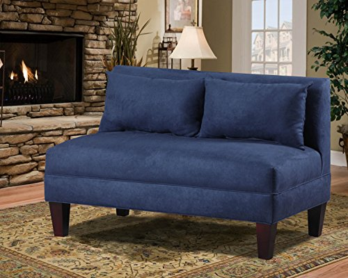 Carolina Accents Briley Armless Loveseat, Navy - Espresso Armless Loveseat