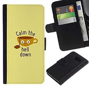 Paccase / Billetera de Cuero Caso del tirón Titular de la tarjeta Carcasa Funda para - Quote Motivational Poster Beige - Samsung Galaxy S6 SM-G920
