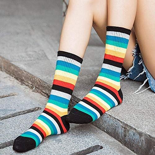 VJGOAL Moda casual para mujer Calcetines de rayas multicolores ...