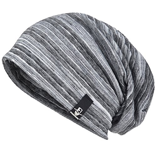 VECRY Mens Slouch Beanie Skull Cap Thin Summer Hat (Stripe Grey)