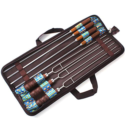 - ZJY 7Pcs Cotton Candy Barbecue Bar BBQ Fork CR13 Stainless Steel Log Handle with Storage Bag Fixed Elastic Band Outdoor Camping Bonfire Mandatory Accessories