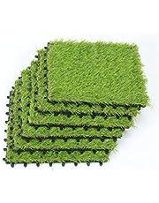 Deseados Artificial Grass Interlocking Tiles Fake Grass Square Floor Tile Synthetic Grass Patches Flooring Lawn Tile Mats