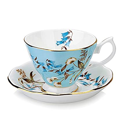 ddfbcb68509 Gift Set Vintage Fine Bone China Tea Cup Spoon and Saucer Set Gold Trim  Fine Dining and Table Décor (Dandelion)
